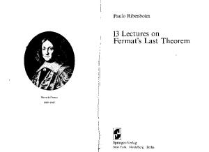 13 Lectures on Fermat's Last Theorem