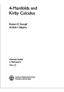4-Manifolds and Kirby Calculus (Graduate Studies in Mathematics 20)