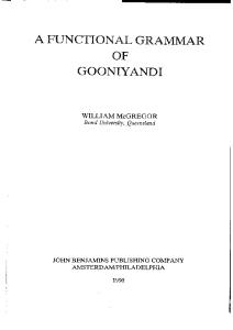 A Functional Grammar of Gooniyandi (Studies in Language Companion Series)