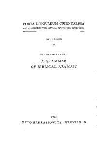 A Grammar of Biblical Aramaic