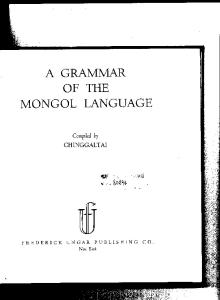 A Grammar of the Mongol Language