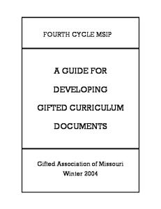 A Guide for Developing Gifted Curriculum Documents