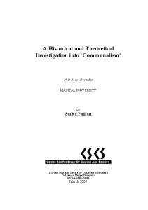 A Historical and Theoretical Investigation into 'Communalism'