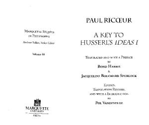 A Key to Husserl's Ideas I (Marquette Studies in Philosophy, Vol 10)