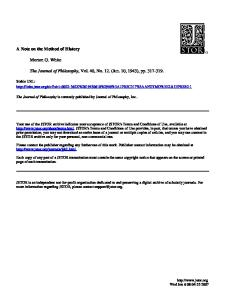 A Note on the Method of History