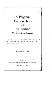 A Program For The Jews And Humanity