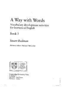 A Way with Words: Book 3 Student's book: Vocabulary Development Activities for Learners of English