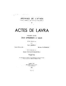 Actes de Lavra: Tome 1