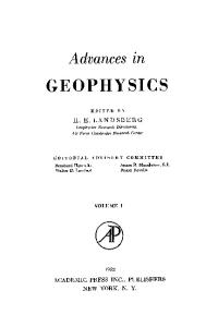 ADVANCES IN GEOPHYSICS VOLUME 1, Volume 1 (v. 1)