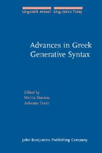 Advances in Greek Generative Syntax: In Honor of Dimitra Theophanopoulou-kontou