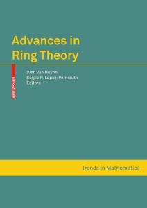Advances in Ring Theory (Trends in Mathematics)