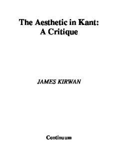 Aesthetic in Kant (Continuum Studies in German Philosophy)