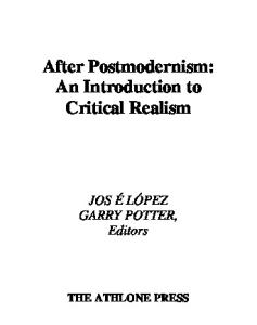 After Postmodernism: An Introduction to Critical Realism