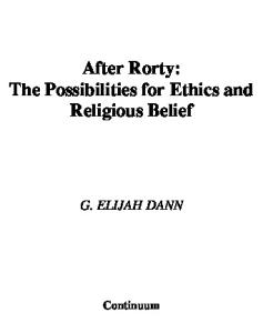 After Rorty: The Possibilities for Ethics and Religious Belief