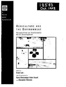 Agriculture and the Environment: Perspectives on Sustainable Rural Development