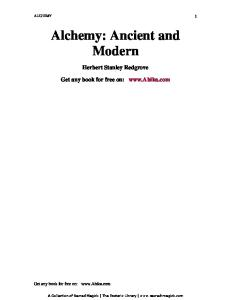 Alchemy Ancient and Modern