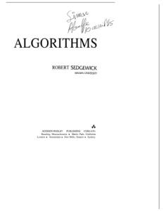 Algorithms (Addison-Wesley Series in Computer Science)