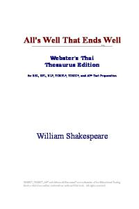 All's Well That Ends Well (Webster's Thai Thesaurus Edition)