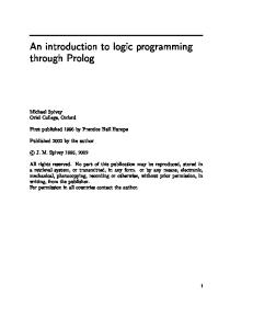 An introduction to Logic programming through Prolog