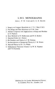 An Introduction to Semigroup Theory (L.M.S. Monographs ; 7)
