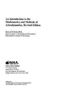 An Introduction to the Mathematics and Methods of Astrodynamics, Revised Edition (Aiaa Education Series)