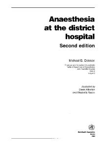 Anaesthesia at the District Hospital (2nd Edition)