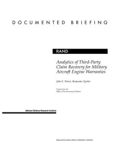 Analytics of Third-Party Claim Recovery for Military Aircraft Engine
