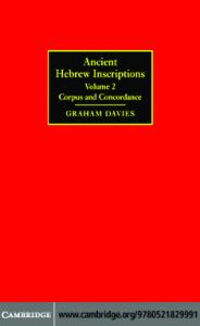 Ancient Hebrew Inscriptions: Volume 2: Corpus and Concordance