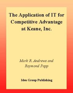 Application of It for Competitive Advantage at Keane, INC