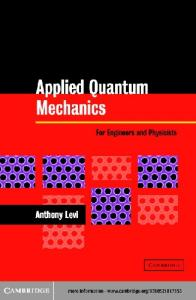 Applied Quantum Mechanics: For Engineers and Physicists