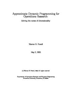 Approximate Dynamic Programming for Operations Research