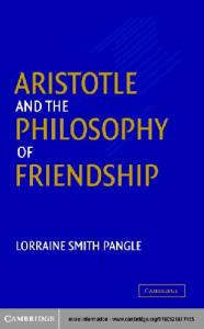 Aristotle and the Philosophy of Friendship