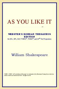 As You Like It (Webster's Korean Thesaurus Edition)