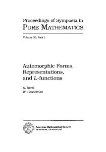 Automorphic Forms, Representations and L-Functions (Part I) (Proceedings of Symposia in Pure Mathematics)