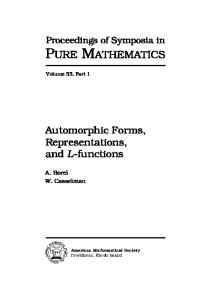 Automorphic forms, representations, and L-functions, Part 1