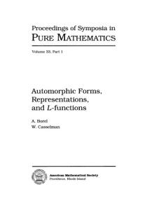 Automorphic Forms, Representations, and L-Functions (Proceedings of Symposia in Pure Mathematics)