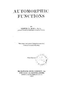 Automorphic Functions
