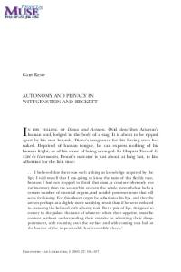 Autonomy and Privacy in Wittgenstein and Beckett