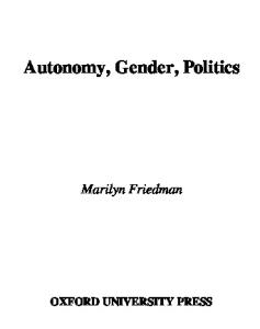 Autonomy, Gender, Politics (Studies in Feminist Philosophy)