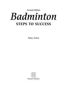 Badminton: Steps to Success, 2nd Edition (Steps to Success Activity Series)