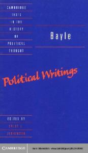 Bayle: Political Writings (Cambridge Texts in the History of Political Thought)
