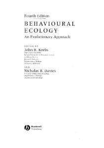 Behavioural Ecology: An Evolutionary Approach, 4th Edition