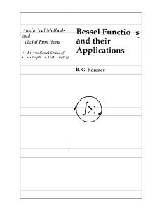 Bessel Functions and Their Applications (Analytical Methods and Special Functions)