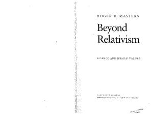 Beyond Relativism: Science and Human Values