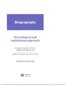 Biogeography: An Ecological and Evolutionary Approach, 7th edition