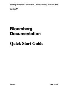 BLOOMBERG Quick Start Guide