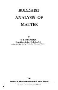 Buddhist Analysis of Matter