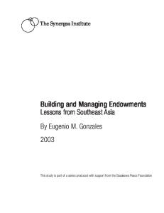 Building and Managing Endowments: Lessons from Southeast Asia