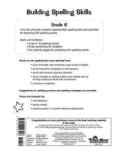 Building Spelling Skills, Grade 6