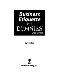 Business Etiquette For Dummies 2nd Edition (For Dummies (Business & Personal Finance))